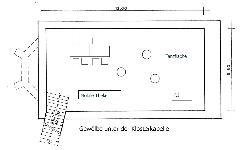 Gewölbe unter der Klosterkapelle Hochzeitslocation Köln Copyright www.wingart.de